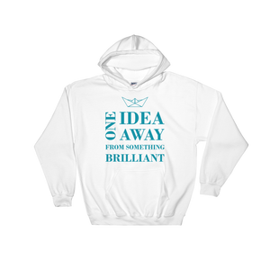 One Idea Away Unisex Hooded Sweatshirt, Collection Origami Boat-White-S-Tamed Winds-tshirt-shop-and-sailing-blog-www-tamedwinds-com