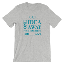 One Idea Away Unisex T-Shirt, Collection Origami Boat-Athletic Heather-S-Tamed Winds-tshirt-shop-and-sailing-blog-www-tamedwinds-com