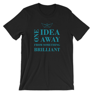 One Idea Away Unisex T-Shirt, Collection Origami Boat-Black-S-Tamed Winds-tshirt-shop-and-sailing-blog-www-tamedwinds-com