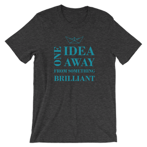 One Idea Away Unisex T-Shirt, Collection Origami Boat-Dark Grey Heather-S-Tamed Winds-tshirt-shop-and-sailing-blog-www-tamedwinds-com