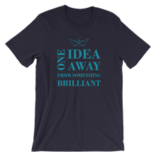 One Idea Away Unisex T-Shirt, Collection Origami Boat-Navy-S-Tamed Winds-tshirt-shop-and-sailing-blog-www-tamedwinds-com