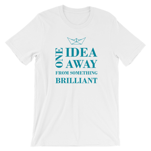 One Idea Away Unisex T-Shirt, Collection Origami Boat-White-S-Tamed Winds-tshirt-shop-and-sailing-blog-www-tamedwinds-com