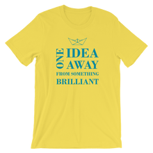 One Idea Away Unisex T-Shirt, Collection Origami Boat-Yellow-S-Tamed Winds-tshirt-shop-and-sailing-blog-www-tamedwinds-com