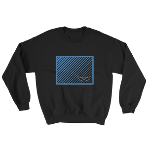 Paper Boat Unisex Crewneck Sweatshirt, Collection Origami Boat-Black-S-Tamed Winds-tshirt-shop-and-sailing-blog-www-tamedwinds-com