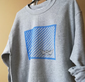Paper Boat Unisex Crewneck Sweatshirt, Collection Origami Boat-Tamed Winds-tshirt-shop-and-sailing-blog-www-tamedwinds-com