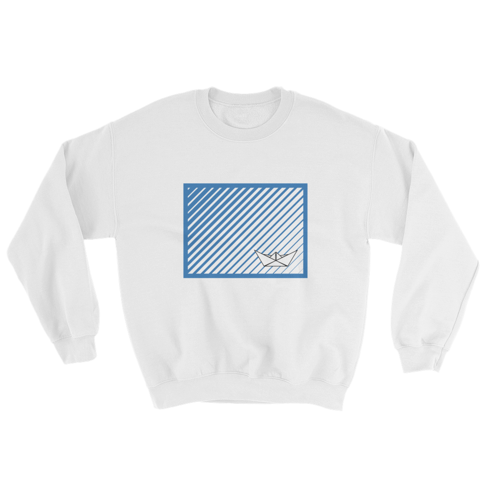 Paper Boat Unisex Crewneck Sweatshirt, Collection Origami Boat-White-S-Tamed Winds-tshirt-shop-and-sailing-blog-www-tamedwinds-com