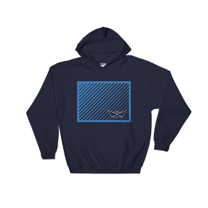 Paper Boat Unisex Hooded Sweatshirt, Collection Origami Boat-Navy-S-Tamed Winds-tshirt-shop-and-sailing-blog-www-tamedwinds-com