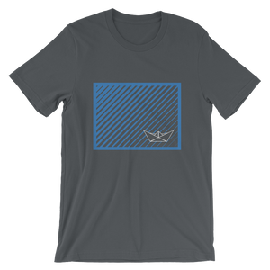 Paper Boat Unisex T-Shirt, Collection Origami Boat-Asphalt-S-Tamed Winds-tshirt-shop-and-sailing-blog-www-tamedwinds-com