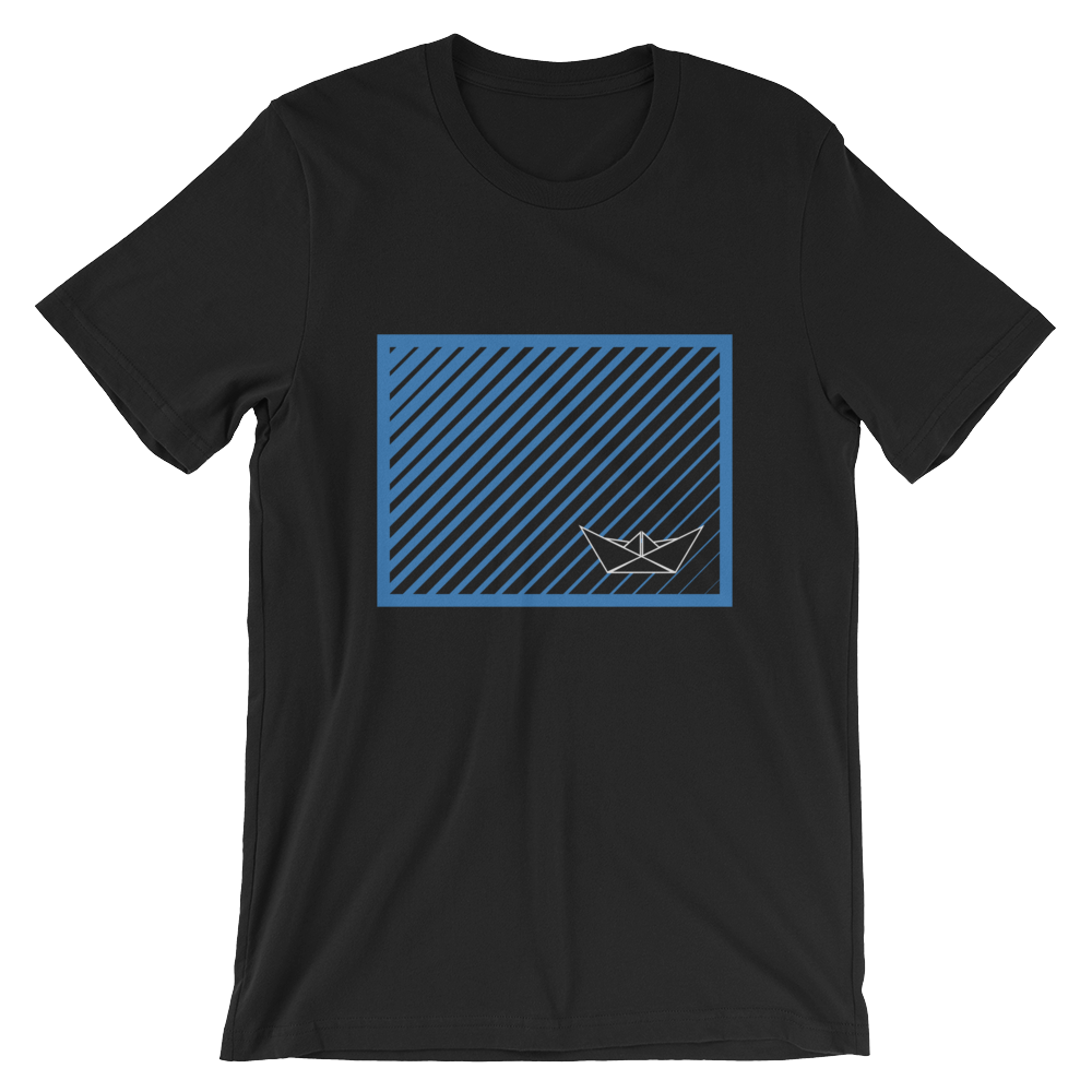 Paper Boat Unisex T-Shirt, Collection Origami Boat-Black-S-Tamed Winds-tshirt-shop-and-sailing-blog-www-tamedwinds-com