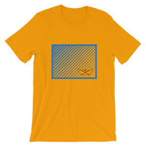 Paper Boat Unisex T-Shirt, Collection Origami Boat-Gold-S-Tamed Winds-tshirt-shop-and-sailing-blog-www-tamedwinds-com