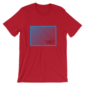 Paper Boat Unisex T-Shirt, Collection Origami Boat-Red-S-Tamed Winds-tshirt-shop-and-sailing-blog-www-tamedwinds-com