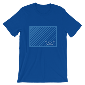 Paper Boat Unisex T-Shirt, Collection Origami Boat-True Royal-S-Tamed Winds-tshirt-shop-and-sailing-blog-www-tamedwinds-com