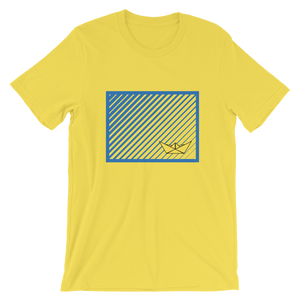 Paper Boat Unisex T-Shirt, Collection Origami Boat-Yellow-S-Tamed Winds-tshirt-shop-and-sailing-blog-www-tamedwinds-com