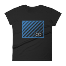 Paper Boat Women's Round Neck T-Shirt, Collection Origami Boat-Black-S-Tamed Winds-tshirt-shop-and-sailing-blog-www-tamedwinds-com