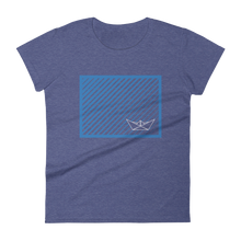 Paper Boat Women's Round Neck T-Shirt, Collection Origami Boat-Heather Blue-S-Tamed Winds-tshirt-shop-and-sailing-blog-www-tamedwinds-com
