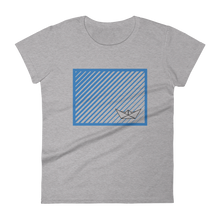 Paper Boat Women's Round Neck T-Shirt, Collection Origami Boat-Heather Grey-S-Tamed Winds-tshirt-shop-and-sailing-blog-www-tamedwinds-com