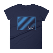 Paper Boat Women's Round Neck T-Shirt, Collection Origami Boat-Navy-S-Tamed Winds-tshirt-shop-and-sailing-blog-www-tamedwinds-com
