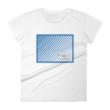 Paper Boat Women's Round Neck T-Shirt, Collection Origami Boat-White-S-Tamed Winds-tshirt-shop-and-sailing-blog-www-tamedwinds-com