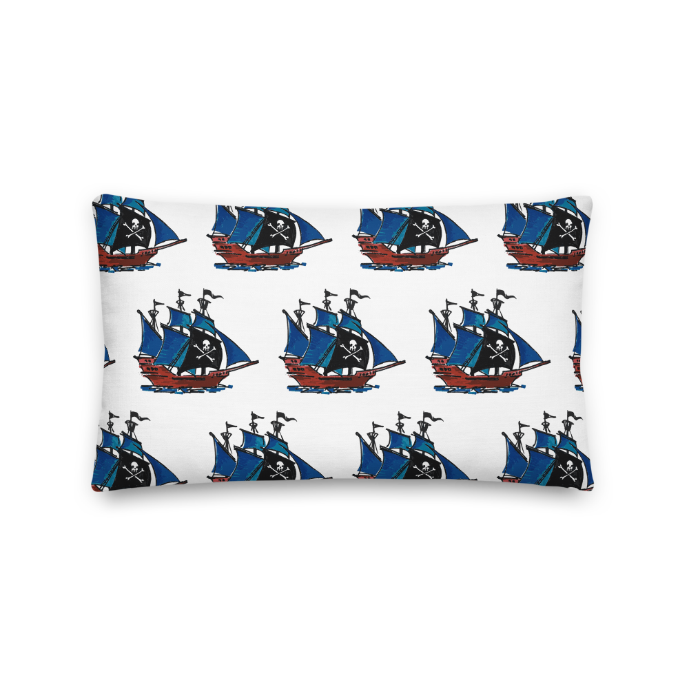 Pirate Schooner Decorative Pillow, Collection Ships & Boats-Tamed Winds-tshirt-shop-and-sailing-blog-www-tamedwinds-com