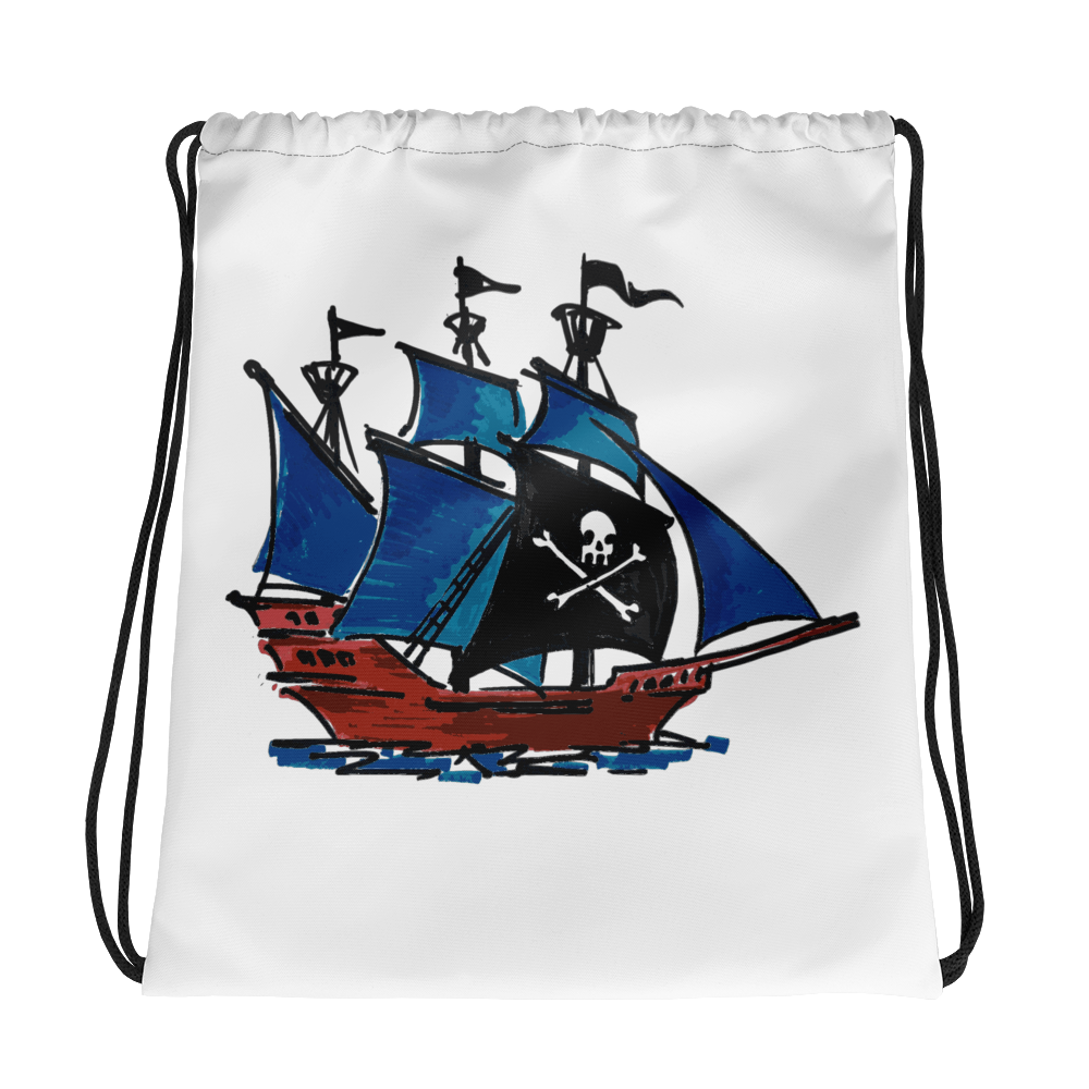 Pirate Schooner Drawstring Bag, Collection Ships & Boats-Tamed Winds-tshirt-shop-and-sailing-blog-www-tamedwinds-com