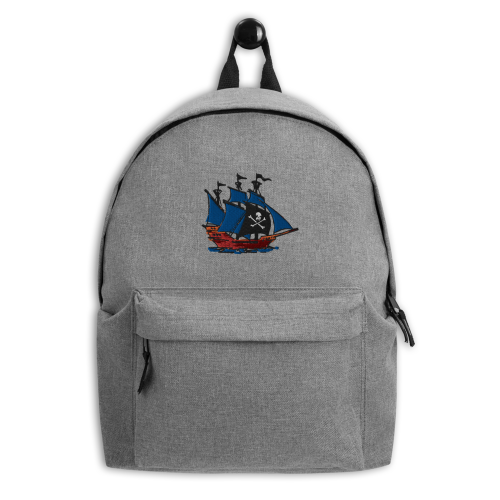 Pirate Schooner Embroidered Backpack, Collection Ships & Boats-Tamed Winds-tshirt-shop-and-sailing-blog-www-tamedwinds-com