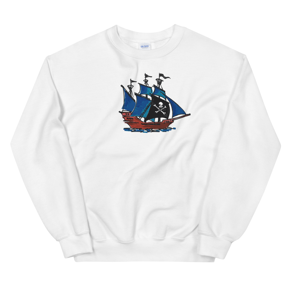 Pirate Schooner Unisex Crewneck Sweatshirt, Collection Ships & Boats-White-S-Tamed Winds-tshirt-shop-and-sailing-blog-www-tamedwinds-com