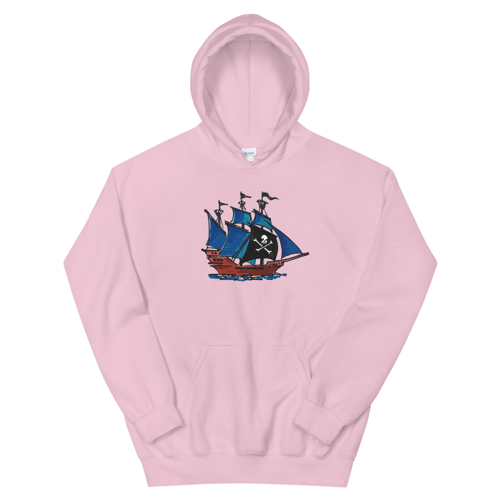 Pirate Schooner Unisex Hooded Sweatshirt, Collection Ships & Boats-Light Pink-S-Tamed Winds-tshirt-shop-and-sailing-blog-www-tamedwinds-com