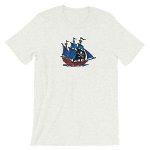 Pirate Schooner Unisex T-Shirt, Collection Ships & Boats-Ash-S-Tamed Winds-tshirt-shop-and-sailing-blog-www-tamedwinds-com