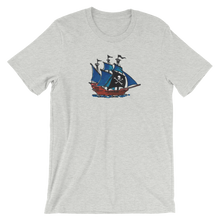Pirate Schooner Unisex T-Shirt, Collection Ships & Boats-Athletic Heather-S-Tamed Winds-tshirt-shop-and-sailing-blog-www-tamedwinds-com