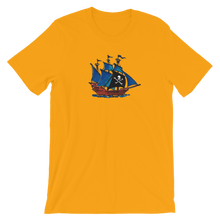Pirate Schooner Unisex T-Shirt, Collection Ships & Boats-Gold-S-Tamed Winds-tshirt-shop-and-sailing-blog-www-tamedwinds-com