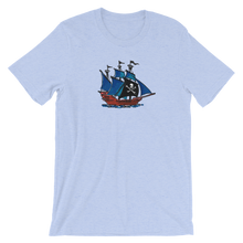 Pirate Schooner Unisex T-Shirt, Collection Ships & Boats-Heather Blue-S-Tamed Winds-tshirt-shop-and-sailing-blog-www-tamedwinds-com