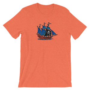 Pirate Schooner Unisex T-Shirt, Collection Ships & Boats-Heather Orange-S-Tamed Winds-tshirt-shop-and-sailing-blog-www-tamedwinds-com