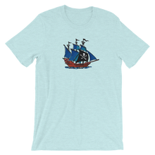 Pirate Schooner Unisex T-Shirt, Collection Ships & Boats-Heather Prism Ice Blue-XS-Tamed Winds-tshirt-shop-and-sailing-blog-www-tamedwinds-com