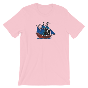 Pirate Schooner Unisex T-Shirt, Collection Ships & Boats-Pink-S-Tamed Winds-tshirt-shop-and-sailing-blog-www-tamedwinds-com