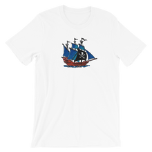 Pirate Schooner Unisex T-Shirt, Collection Ships & Boats-White-XS-Tamed Winds-tshirt-shop-and-sailing-blog-www-tamedwinds-com