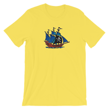Pirate Schooner Unisex T-Shirt, Collection Ships & Boats-Yellow-S-Tamed Winds-tshirt-shop-and-sailing-blog-www-tamedwinds-com