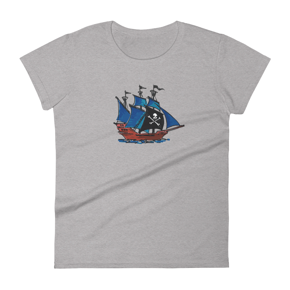 Pirate Schooner Women's Round Neck T-Shirt, Collection Ships & Boats-Heather Grey-S-Tamed Winds-tshirt-shop-and-sailing-blog-www-tamedwinds-com