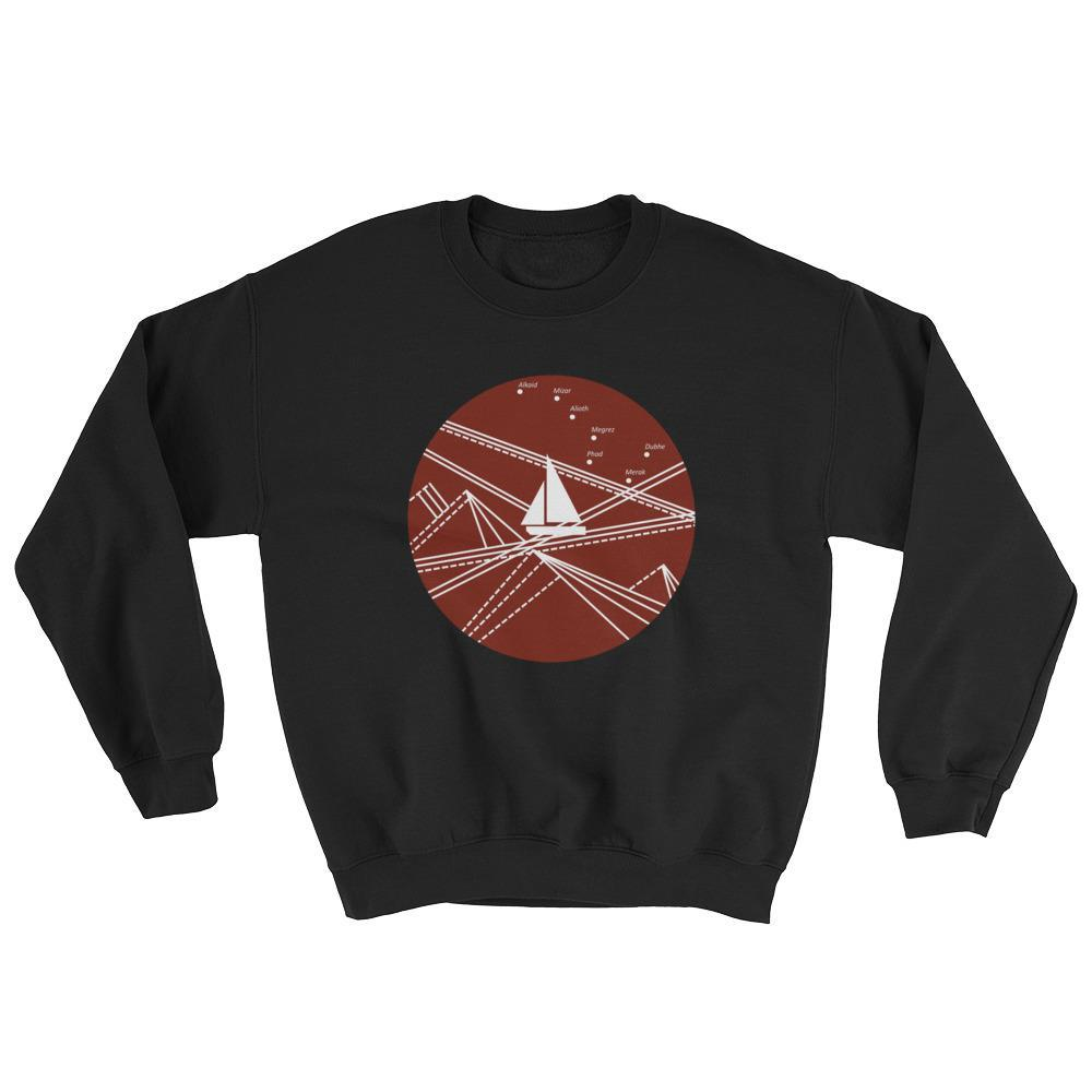 Red Stormy Big Dipper Unisex Crewneck Sweatshirt, Collection Fjaka-Black-S-Tamed Winds-tshirt-shop-and-sailing-blog-www-tamedwinds-com