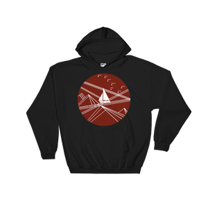 Red Stormy Big Dipper Unisex Hooded Sweatshirt, Collection Fjaka-Black-S-Tamed Winds-tshirt-shop-and-sailing-blog-www-tamedwinds-com