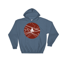 Red Stormy Big Dipper Unisex Hooded Sweatshirt, Collection Fjaka-Indigo Blue-S-Tamed Winds-tshirt-shop-and-sailing-blog-www-tamedwinds-com