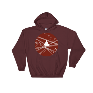 Red Stormy Big Dipper Unisex Hooded Sweatshirt, Collection Fjaka-Maroon-S-Tamed Winds-tshirt-shop-and-sailing-blog-www-tamedwinds-com
