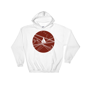 Red Stormy Big Dipper Unisex Hooded Sweatshirt, Collection Fjaka-White-S-Tamed Winds-tshirt-shop-and-sailing-blog-www-tamedwinds-com