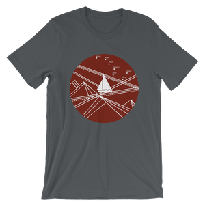 Red Stormy Big Dipper Unisex T-Shirt, Collection Fjaka-Asphalt-S-Tamed Winds-tshirt-shop-and-sailing-blog-www-tamedwinds-com