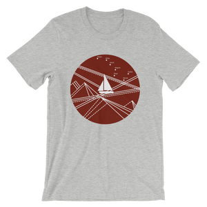 Red Stormy Big Dipper Unisex T-Shirt, Collection Fjaka-Athletic Heather-S-Tamed Winds-tshirt-shop-and-sailing-blog-www-tamedwinds-com