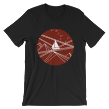 Red Stormy Big Dipper Unisex T-Shirt, Collection Fjaka-Black-S-Tamed Winds-tshirt-shop-and-sailing-blog-www-tamedwinds-com