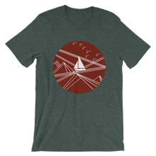 Red Stormy Big Dipper Unisex T-Shirt, Collection Fjaka-Heather Forest-S-Tamed Winds-tshirt-shop-and-sailing-blog-www-tamedwinds-com