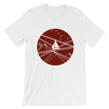 Red Stormy Big Dipper Unisex T-Shirt, Collection Fjaka-White-S-Tamed Winds-tshirt-shop-and-sailing-blog-www-tamedwinds-com