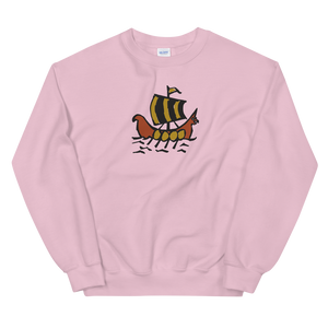 Roman Galleon Unisex Crewneck Sweatshirt, Collection Ships & Boats-Light Pink-S-Tamed Winds-tshirt-shop-and-sailing-blog-www-tamedwinds-com