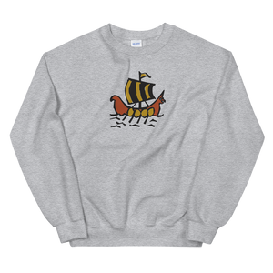 Roman Galleon Unisex Crewneck Sweatshirt, Collection Ships & Boats-Sport Grey-S-Tamed Winds-tshirt-shop-and-sailing-blog-www-tamedwinds-com