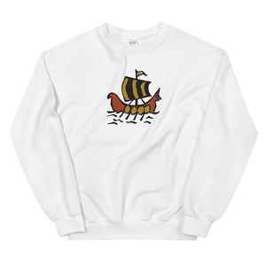 Roman Galleon Unisex Crewneck Sweatshirt, Collection Ships & Boats-White-S-Tamed Winds-tshirt-shop-and-sailing-blog-www-tamedwinds-com